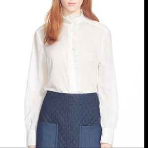 See by Chloe Off White Ruffled Button Down Shirt
